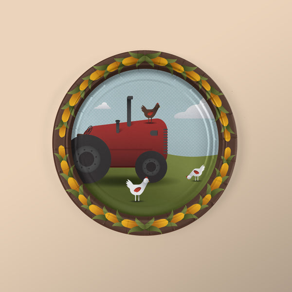 Farm Party Themed Dessert Plates with Tractor and Chickens