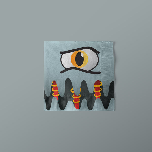Monster Truck Party Beverage Napkins with monster face