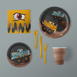 Monster Rally Monster Truck Party Large Pack with Napkins, Plates, Flatware and Cups