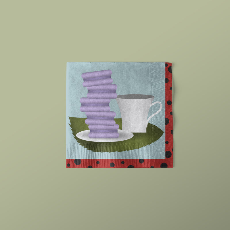 Lady Bug Party Themed Beverage Napkins with tea and cookies image