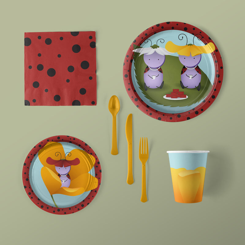 Lady Bug Party Large Pack Plates, Napkins, Flatware and Cups