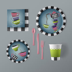 Tea Party Themed Large Pack with Plates, Napkins, Flatware and Cups
