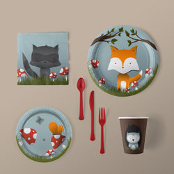Woodland Creature Party Large Pack with Plates, Napkins, Flatware and Cups