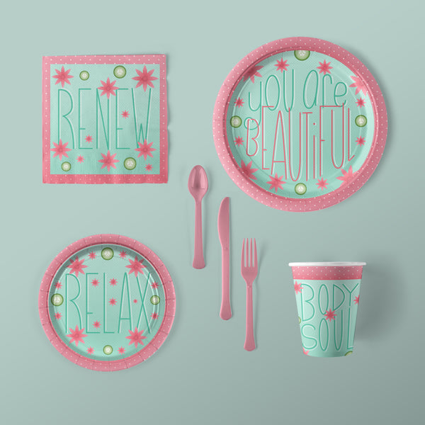 You Are Beautiful Party Large Pack with Plates, Napkins, Flatware and Cups