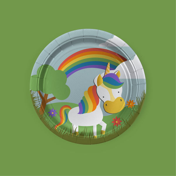 Unicorn Party Dessert Plates with rainbow theme