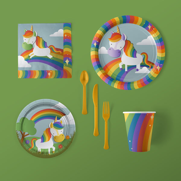Unicorn Party Large Pack with Plates, Napkins, Flatware and Cups