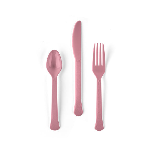 24 count Rose Petal Pink Cutlery Set