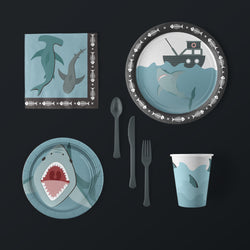 Shark party Large Pack with Plates, Napkins, Flatware and Cups