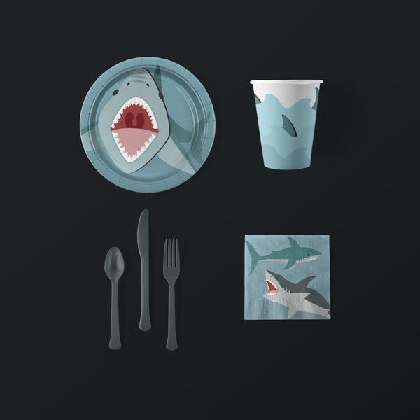 Shark Party Small Pack with Plates, Napkins, Flatware and Cups