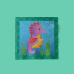 Mermaid Party Beverage Napkins with seahorse
