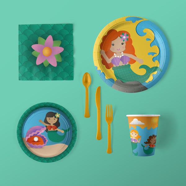 Mermaid Party Pack with Plates, Napkins, Flatware and Cups