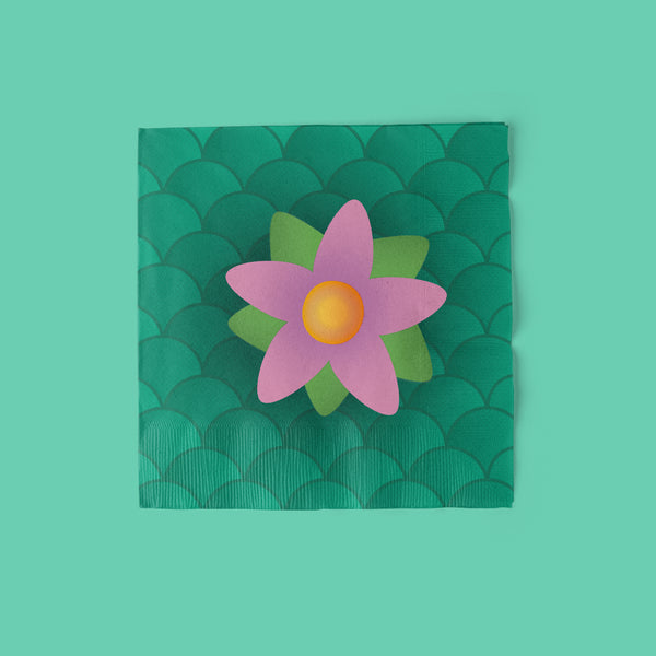 Mermaid Party Luncheon Napkins with flower
