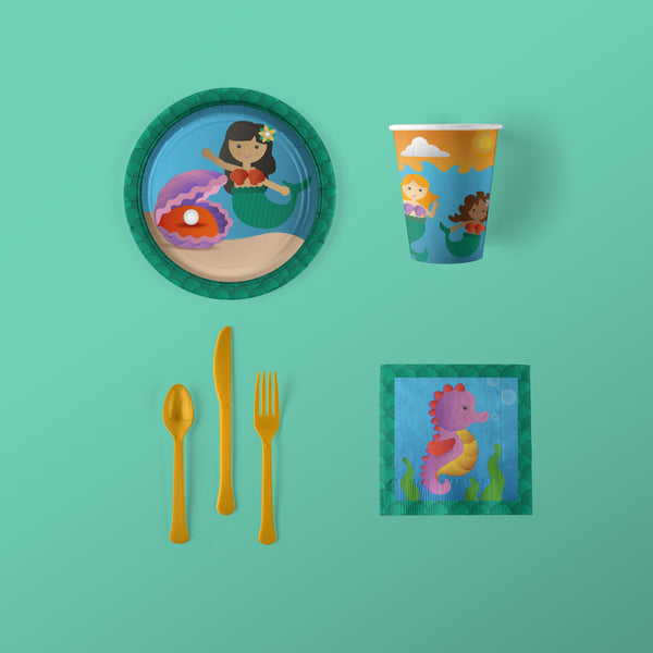 Mermaid Party Small Pack with Plates, Napkins, Flatware and Cups