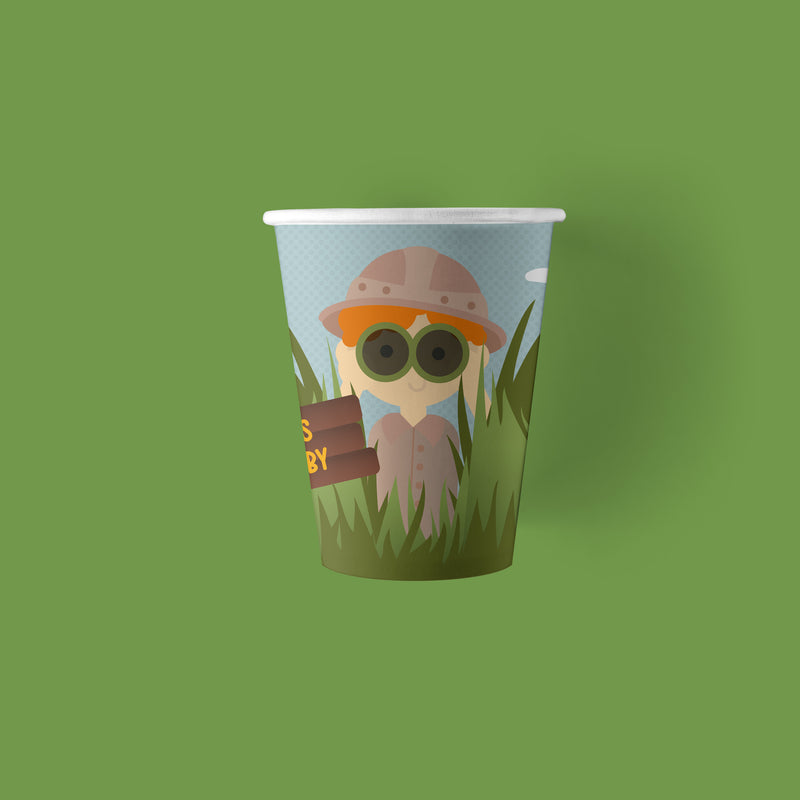 9 ounce safari zoo animal party paper cups
