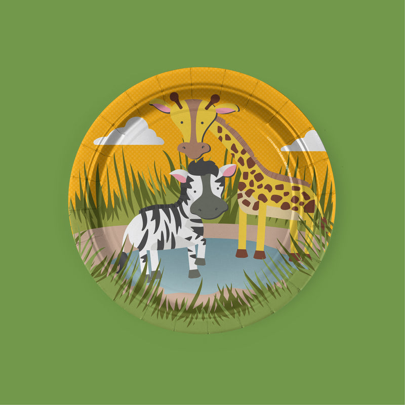 safari zoo animal Party Dessert Plates