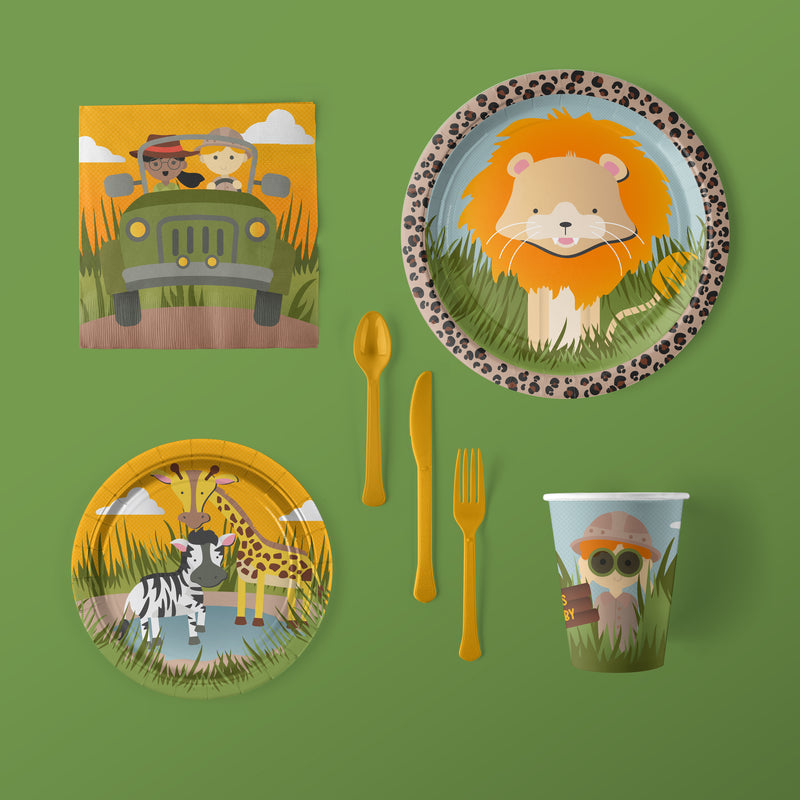 Jungle Safari Zoo Animal Party Large Pack with Plates, Napkins, Flatware and Cups