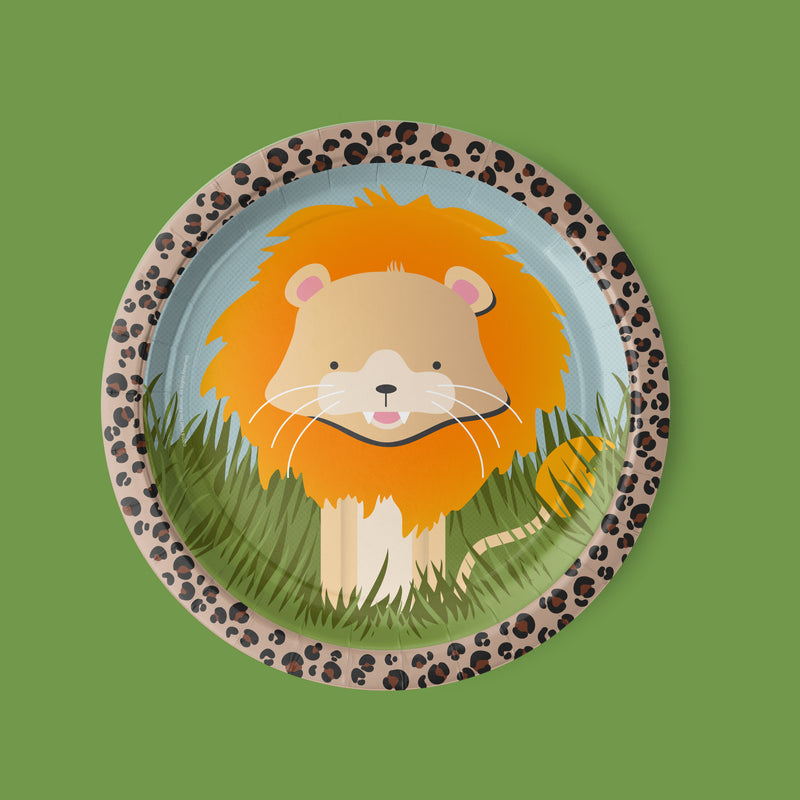safari zoo animal Party Luncheon Plates