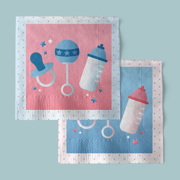 Boy or Girl Gender Reveal Party Beverage Napkins