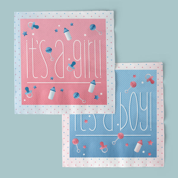 Boy or Girl Gender Reveal Luncheon Napkins