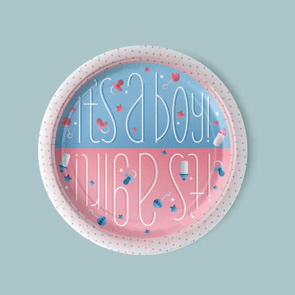 Boy or Girl Gender Reveal Luncheon Plates