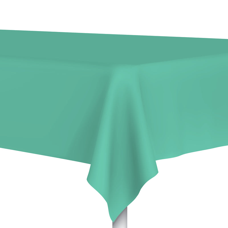 Caribbean Green Plastic Tablecloth, Party Table Cloth