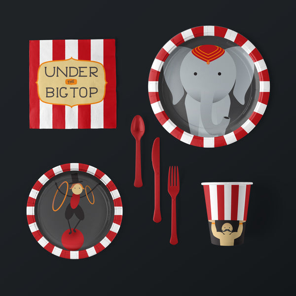 Circus Party Large Pack with Plates, Napkins, Flatware and Cups