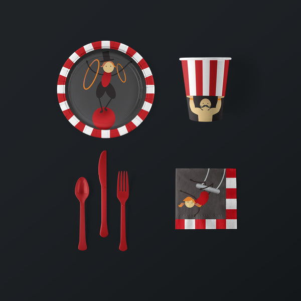 Circus Party Small Pack with Plates, Napkins, Flatware and Cups