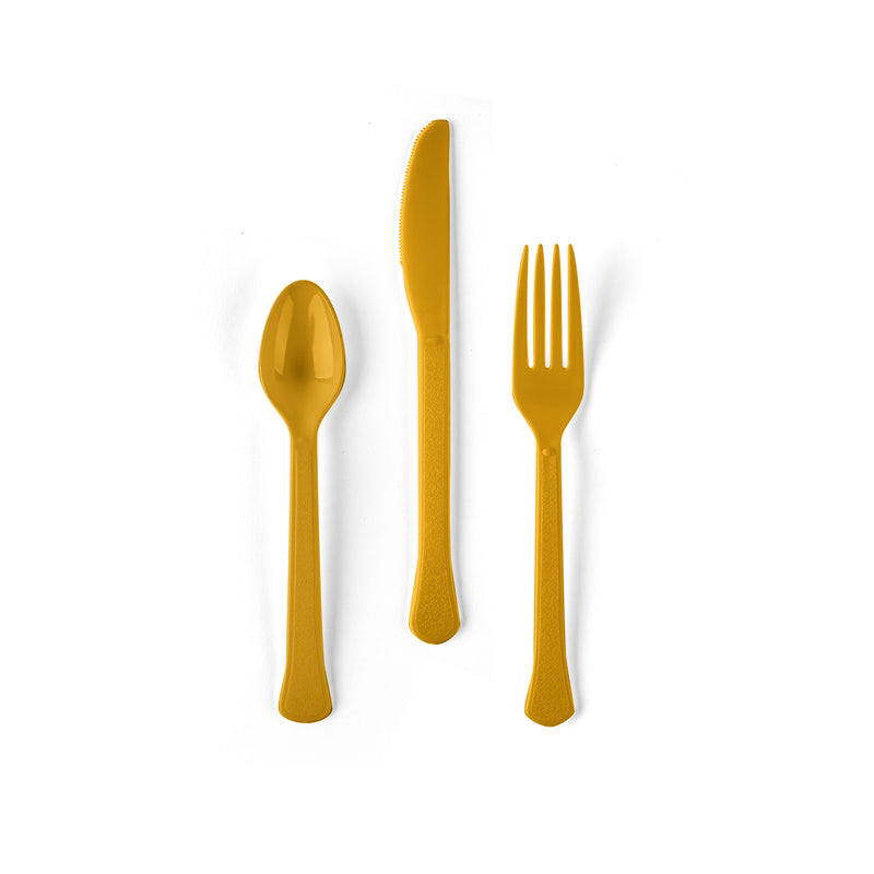 Yellow Plastic Flatware Set - Fork, Knife and Spoon