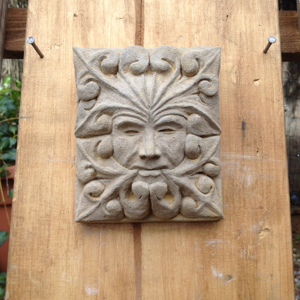 Gentil Garden Art Green Man Old Corbel. Gargoyle Grotesque Wall Plaque.