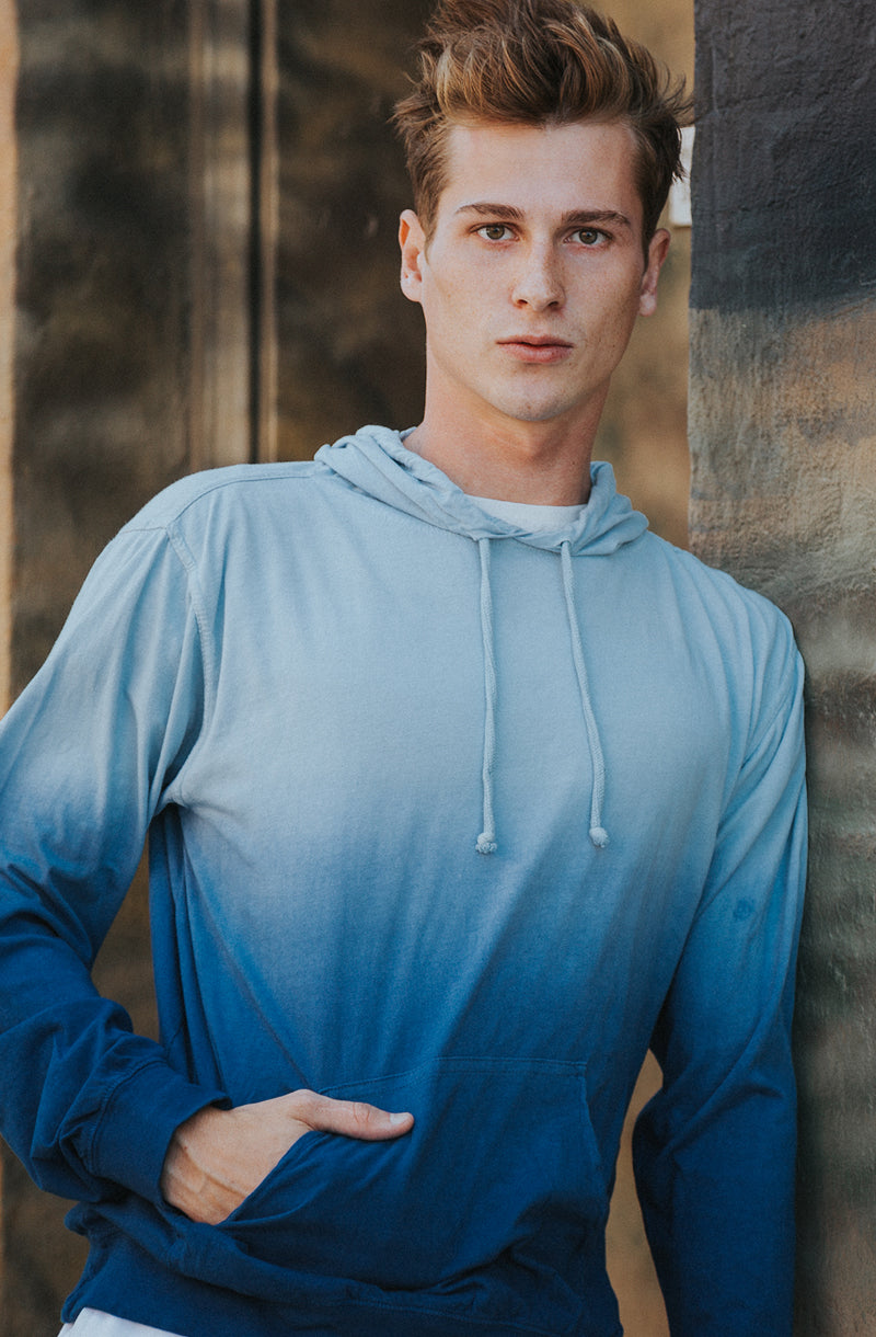 Beach Jersey Hoodie Dipped Dyed Blue - COTTONHOOD