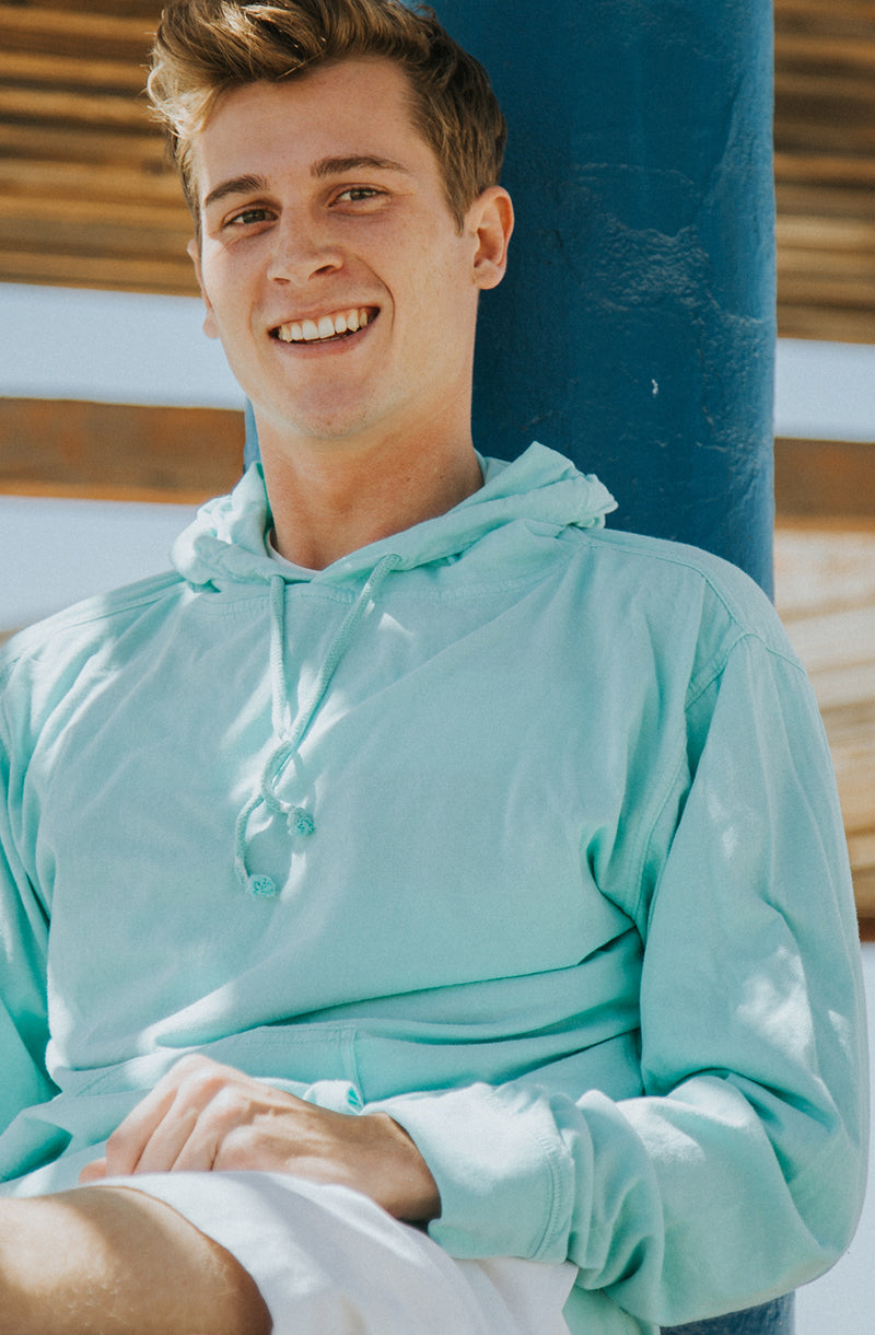 Beach Jersey Hoodie Pigment Dyed Aruba Blue - COTTONHOOD