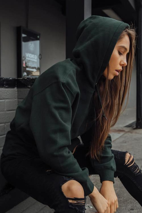 Misses Box Hoodie Hunter Green - COTTONHOOD