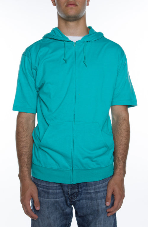 Men's S/S Zip Beach Jersey Hoodie Teal