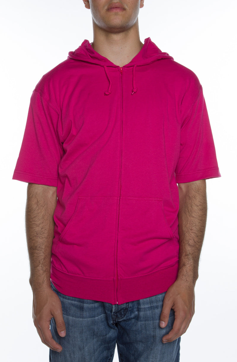Men's S/S Zip Beach Jersey Hoodie Fuchsia - COTTONHOOD