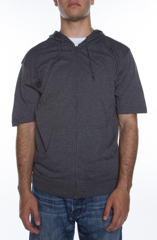 Men's S/S Zip Beach Jersey Hoodie Charcoal Heather - COTTONHOOD