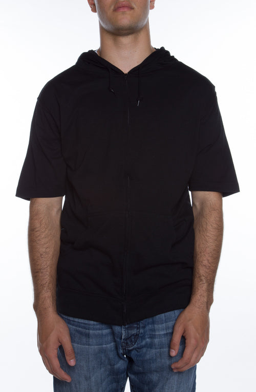 Men's S/S Zip Beach Jersey Hoodie Black - COTTONHOOD