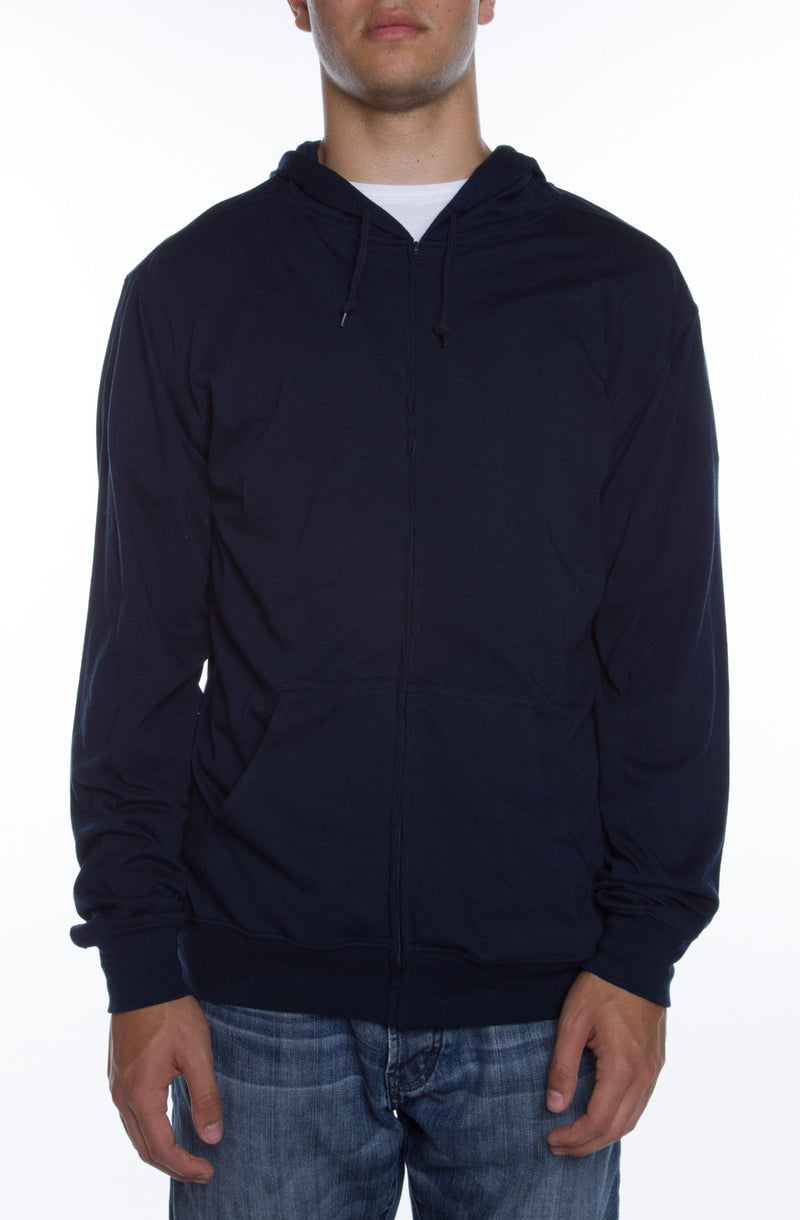 Men's Zip Beach Jersey Hoodie Deep Navy - COTTONHOOD