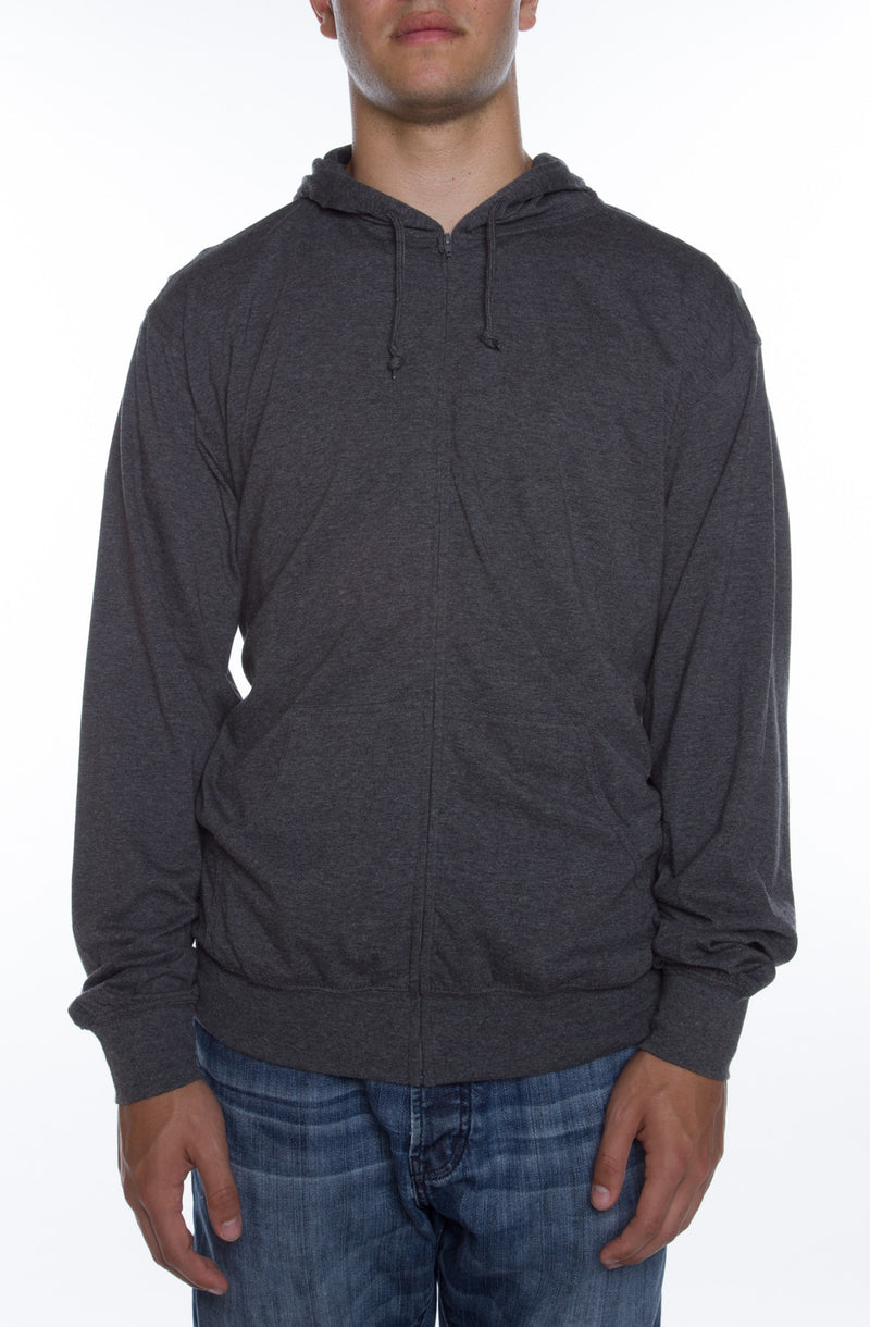 Men's Zip Beach Jersey Hoodie Charcoal Heather - COTTONHOOD