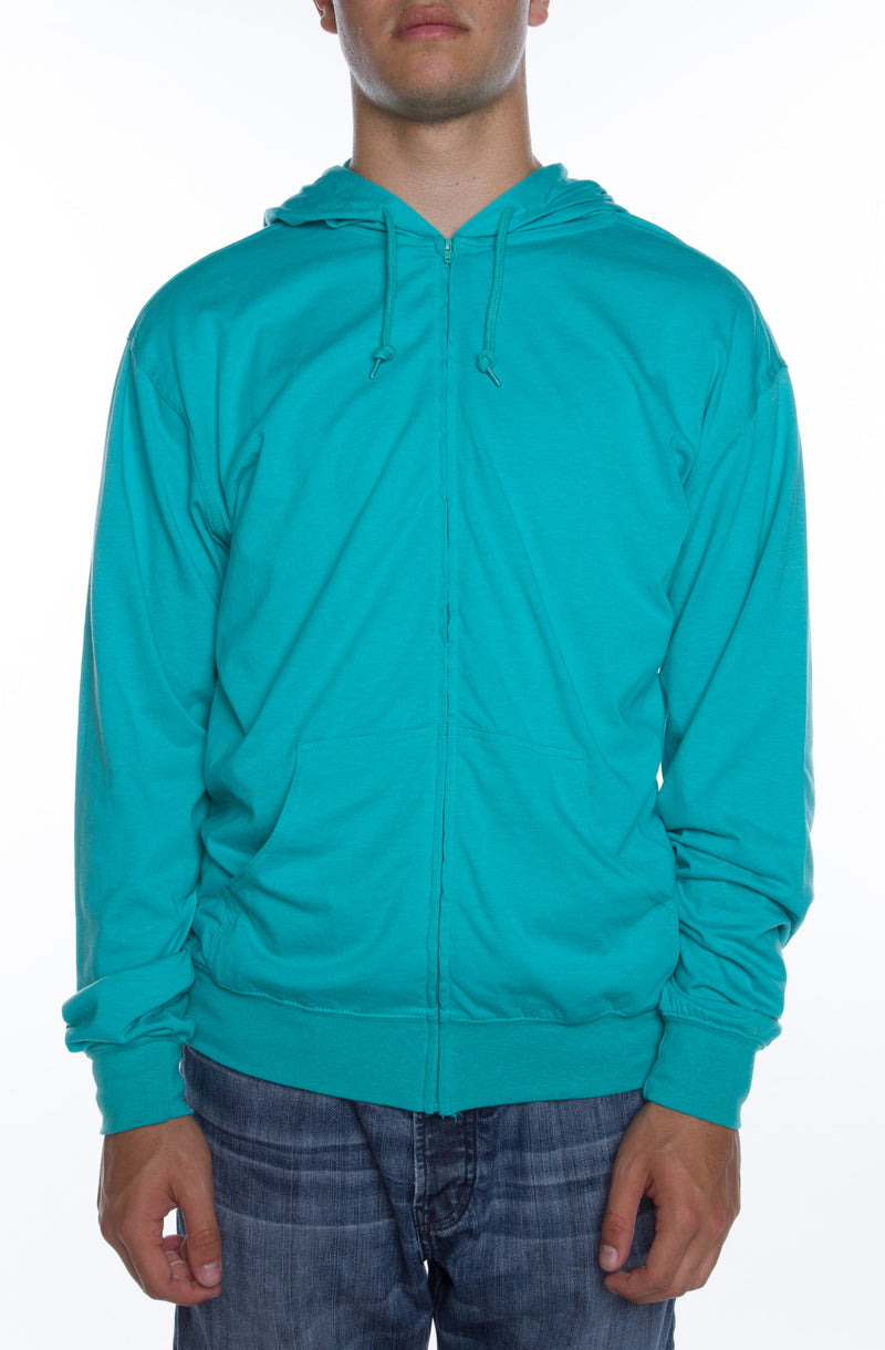 Men's Zip Beach Jersey Hoodie Teal - COTTONHOOD