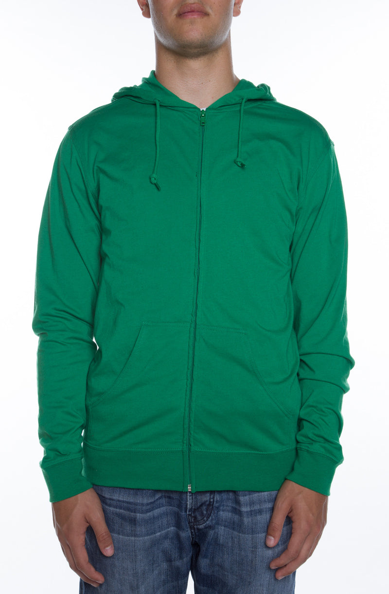 Men's Zip Beach Jersey Hoodie Kelly Green - COTTONHOOD