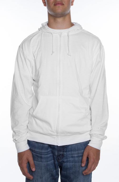 Men's Zip Beach Jersey Hoodie White - COTTONHOOD