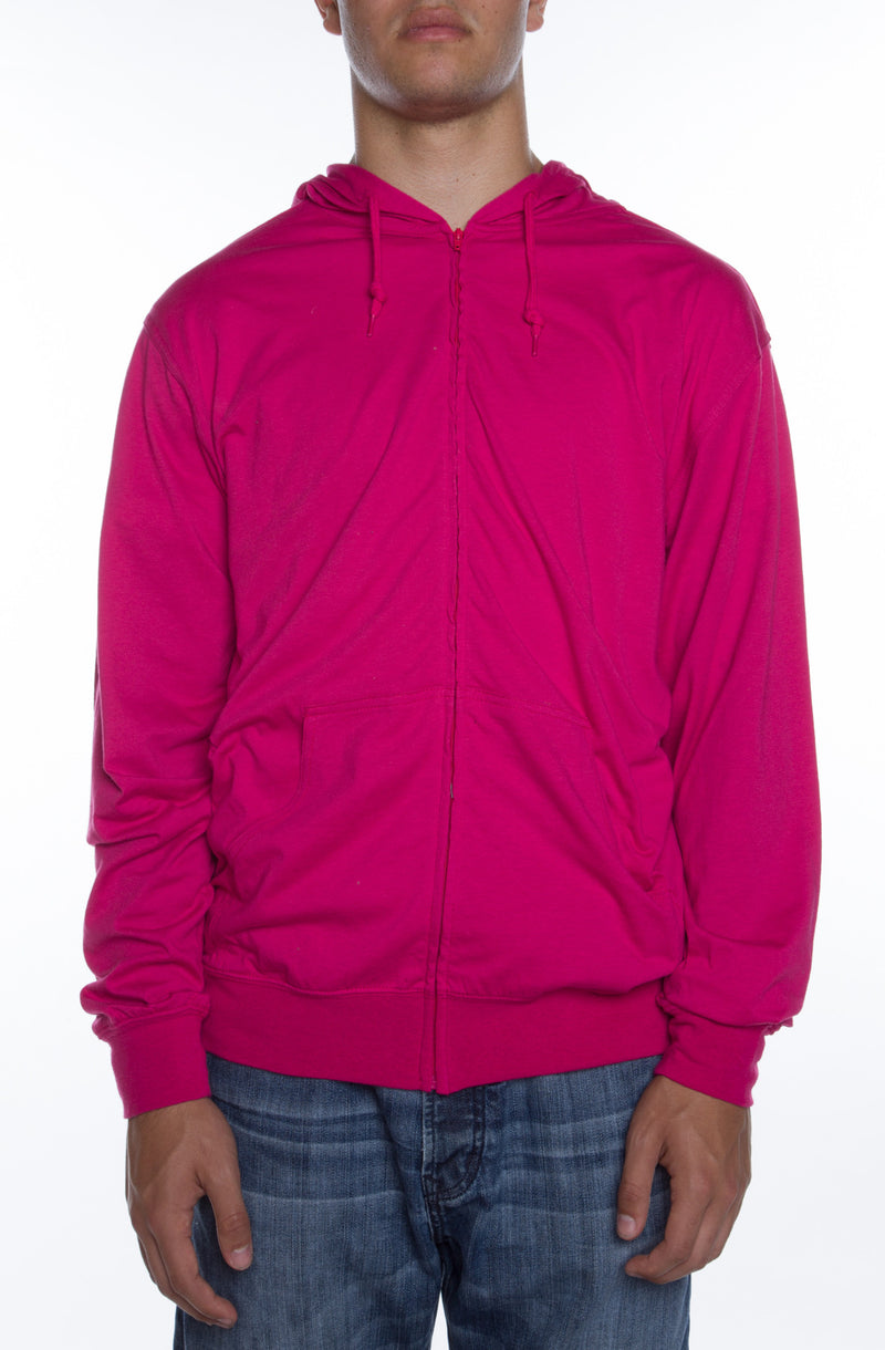 Men's Zip Beach Jersey Hoodie Fuchsia - COTTONHOOD