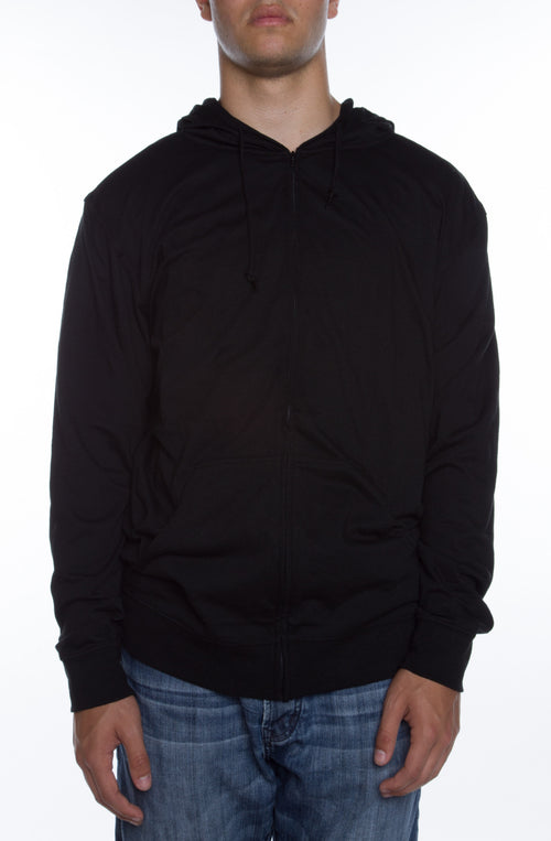 Men's Zip Beach Jersey Hoodie Black