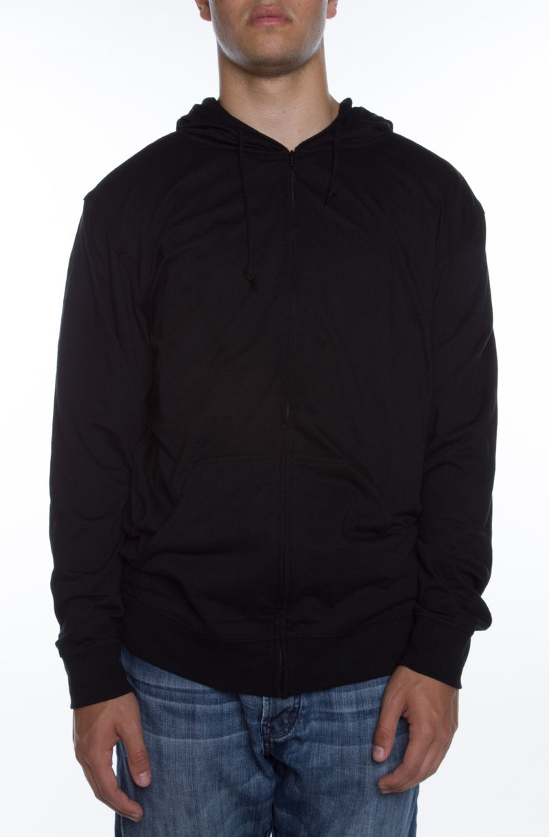 Men's Zip Beach Jersey Hoodie Black - COTTONHOOD