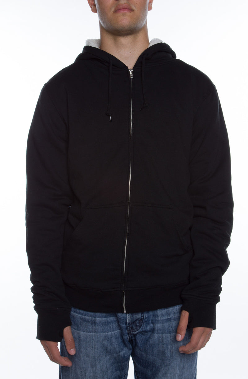 Lightweight Sherpa Lined Hoodie Black/Natural - COTTONHOOD