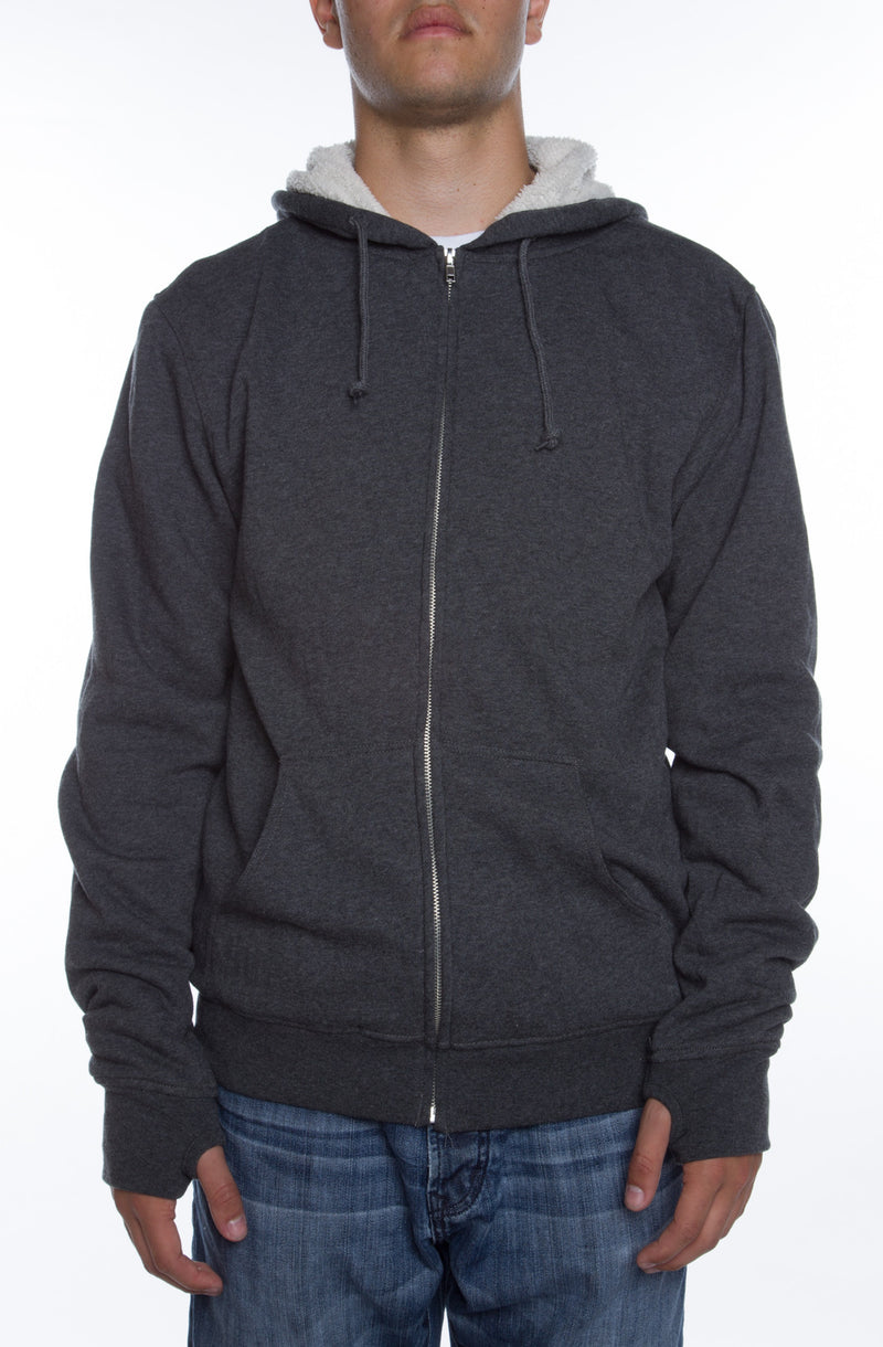Lightweight Sherpa Lined Hoodie Charcoal/Natural - COTTONHOOD