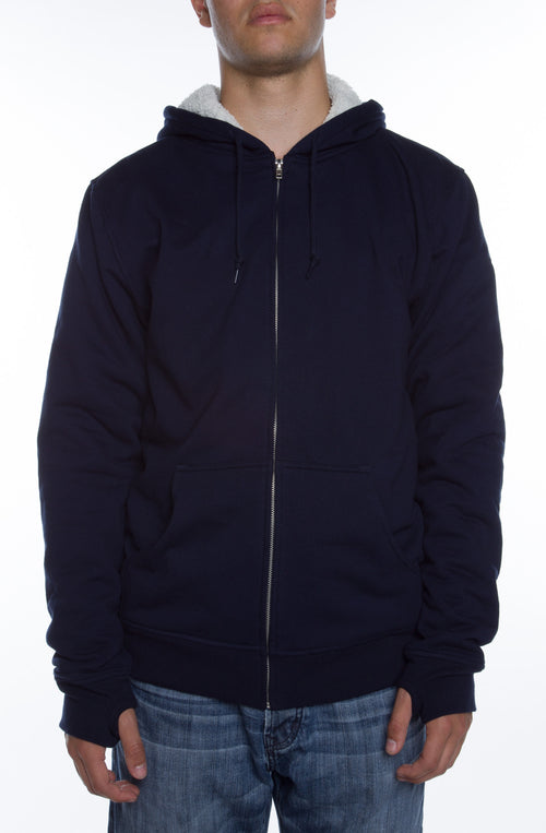 Lightweight Sherpa Lined Hoodie Navy/Natural - COTTONHOOD