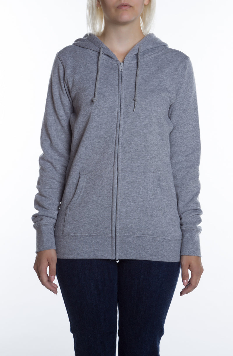 Women's Basic Zip Hoodie Heather Grey - COTTONHOOD