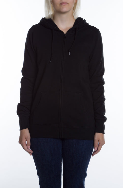 Women's Basic Zip Hoodie Black - COTTONHOOD