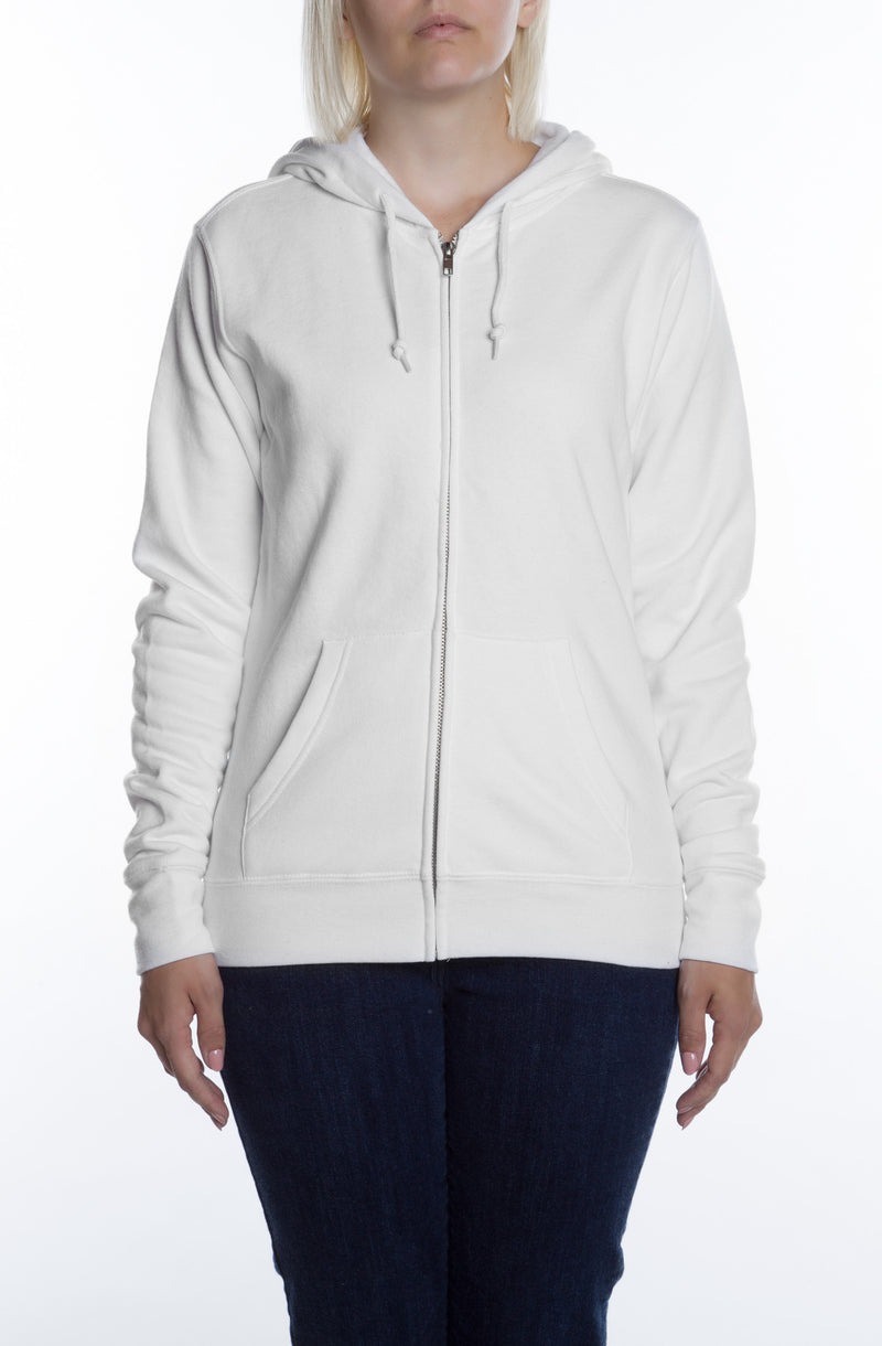 Women's Basic Zip Hoodie White - COTTONHOOD